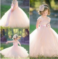 ingrosso i vestiti dei bambini vestono il colore rosa chiaro-Affascinante rosa chiaro Pincess Flower Girl Dresses Pageant bambini Wedding Party Dress Bambini occasione speciale compleanno vestito da promenade GHTZ252