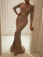entwurfsspitze-abschlussballkleid großhandel-2019 Mermaid Abendkleider High Neck Long Sleeve Einzigartiges Design Abendkleider Spitze Mit Pailletten Perlen Kristalle Formal prom Kleider