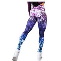 ingrosso tintura dello spazio-Vendita calda sexy delle nuove donne di modo Nuova novità Leggings stampati in 3D Spazio Galaxy Tie Dye Fitness Pantaloni neri per il latte Push Up per le donne