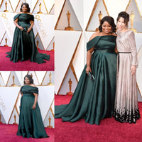 Dark Green Oscar Prom Dresses Plus Size Off The Shoulder Evening Gowns Custom Made Sweep Train Red Carpet Special Occasion Dress