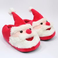 Wholesale slippers plush children online - 28cm Kids Santa Claus Plush Slippers cartoon Full heel Soft Warm Household Winter flip flop big children adult Christmas Home Shoes AAA1242
