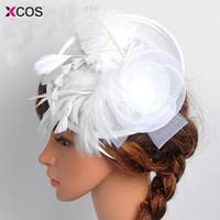 fascinator azul sombreros al por mayor-Envío Gratis Azul marino Negro Birdcage Net Wedding Hats nupcial Fascinator Face Veils flor de la pluma con horquilla