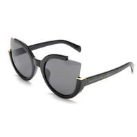 kedi mercek çerçeveleri toptan satış-Yarım çerçeve bayan kedi göz marka tasarımcısı güneş gözlüğü degrade lens shades güneş gözlüğü kadın gözlük