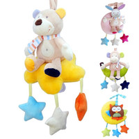 Wholesale musical soft toy - Cartoon baby rattles toys Soft Musical Bed Stroller Playing Toy Crib Lathe Hanging Rattles Educational Baby kids toys Gift R4