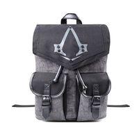 Wholesale assassins creed bags for sale - Group buy Assassins Creed Syndicate Logo Backpack Flap Pocket Unisex Grey Bag Fashion Soft Handle Rucksack Teenager School Bag