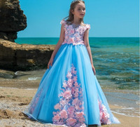 nice dresses imágenes al por mayor-Elegante princesa vestidos de niña de las flores azules para la boda Apliques de encaje rosado del tutú 2018 Vestidos de niña recién llegada de la muchacha s