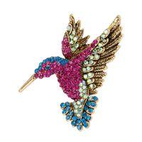 broche corea al por mayor-Broche de colibrí de diamantes de imitación de colores Broches para mujeres Accesorios de moda de Corea Venta directa al por mayor de fábrica # 274881