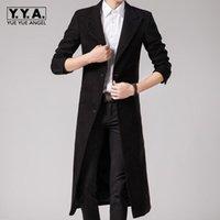 siyah resmi ceket mens toptan satış-Bahar Moda İngiliz Mens maxi uzun resmi Uzun Ceketler Erkek punk tarzı Siyah yün blend trençkot Boyutu 3XL