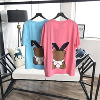 Wholesale Long Black Rabbit Ears - 2018 Luxury Europe Milano Los Angeles Paris Rabbit ears bear t-shirt High quality Tshirt Fashion Women T Shirt Casual Cotton Tee