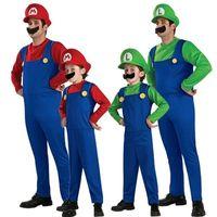 costume mario star achat en gros de-Costume d'Halloween Enfants Super Mario Performance Costume Enfants Cosplay Mario Ensemble de Costumes Adultes Costumes Romper Chapeau Barbe