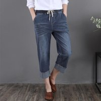 Wholesale women baggy jeans - Women Boyfriend Vintage Striped Baggy Capris Jeans for Girls on Sale Summer Wide Leg Elastic Waist Ladies Cuffed Denim Trousers Jean Pants