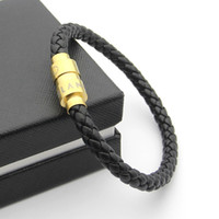 goldgeflecht armband großhandel-316L Titan Stahl Männer magnetische Schnalle echtes Leder Braid Armband in 20 cm für Mann Armreif 18 Karat Echtgold Mont Ettike Charm Armband Juwel