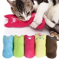 brinquedo de dente de pelúcia venda por atacado-Popular alta Quanlity bonito interativo gatos extravagantes brinquedo dentes Catnip brinquedos de pelúcia hortelã gosto Pillow Cat suprimentos multicolor B