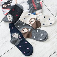 Wholesale wholesale sock monkey - 2 Pairs Lot Woman Spring Joker Cartoon Monkey Combed Cotton Warm Hand Stitch Funny Socks Students Novelty Kawaii Dots Meias