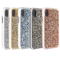 Wholesale iphone hard diamond case - For Iphone X Case Luxury Glitter Bling Rhinestone Diamond Case 2in1 Electroplate TPU Hard PC Back Cover for Iphone X