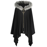 71005e4395e8d Wholesale plus size hooded poncho - Gamiss Asymmetric Faux Fur Panel Plus  Size Cape Coat Women