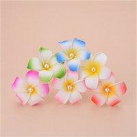 köpük parti aksesuarları toptan satış-100pcs / lot Hawaii plaj tatil Frangipani Çiçek Yapay çiçekler Gelin Düğün köpük Saç iğneler Plumeria saç aksesuarları BOYUT 7cm