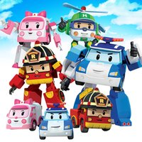 Wholesale poli car toys online - Hot deformation car poli Robocar Bubble toys models South Korea Poli robot transformer Car Helly Amber Roy ABS AA With package