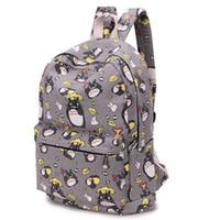 mochila adorável venda por atacado-Atacado- Adorável Totoro Impressão Mochila de Lona Estilos Coreanos de Mochilas Escolares Frete Grátis -B