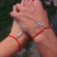 chinesisches rotes seilarmband großhandel-Chinesisches rotes Armband! Feder-Legierungs-rote Schnur der Schicksal-Seil-Liebhaber-Armband-Freundschafts-Armband-Art- und Weisearmband-Weihnachtsgeschenk