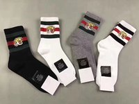 Wholesale Hair Thermal - 4pairs tiger head embroidery Athletic Sport Socks Men Fashion Compression Thermal women unisex socks 2pairs white 1 pair Black 1pair Grey