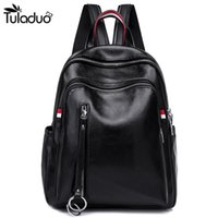 Wholesale backpacks for teens - Women Black Leather Backpack With Slit Pockets Shoulders Travel Bag Fashion Soft Back School Bags For Teens Girls mujer