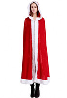 Wholesale santa claus woman costume for sale - Christmas Cloak Cape Halloween party Cosplay Costume For Adult Women girls Hooded Xmas Santa Claus Stage Show Party Clothing overcoat