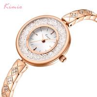 bracelet en diamant couleur achat en gros de-KIMIO Marque Rolling Diamond Creative Dial Femmes Montre Dames De Luxe Cristal En Acier Inoxydable Bracelet Montres Or Rose Couleur C18110601