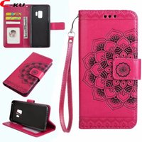 Wholesale Floral Skin - For Samsung Galaxy S9 Plus Mandala Flower Wallet Leather Case Datura Floral Cards Slot Fashion Stand Skin Flip Cell Phone Cover 150pcs