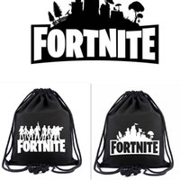 Wholesale tennis backpack wholesale - 2 colors Game Fortnite Printed Drawstring Bag students Canvas Backpack casual travel Beach bags 40*34cm MMA235