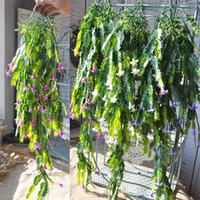 canasta de decoración de pared al por mayor-Recién llegado de suspensión de suspensión de pared Chlorophytum Wedding Home Decor colgar cestas Artificial planta de flor ornamental hojas 9 5al jj