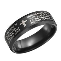 lasers de dedo venda por atacado-Anéis de dedo bíblia aço inoxidável dos homens 8mm verso oração do senhor cristão cruz anel bandas de casamento laser gravado