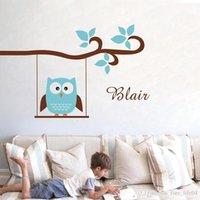 baykuş oda dekoru toptan satış-Ücretsiz kargo kişiselleştirilmiş adı baykuş duvar çıkartmaları, sevimli baykuş özelleştirilmiş isim duvar çıkartmaları çocuk odası dekor için