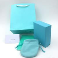 ingrosso braccialetti di schede di visualizzazione-Contenitore di monili di modo di lusso Imballaggio dei monili blu per il braccialetto con sacchetto di carta Carta panno di lucidatura Collana Sacchetti regalo di visualizzazione