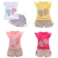 lolipop seti toptan satış-Toddler Kız Üstleri + Şort Takım 8 Tasarım Lolipop Tavşanlar Karikatür Baskılı Çocuklar Iki parça Giyim Setleri Lotus Yaprağı Kol Pamuk 6 M-4 T