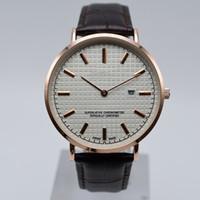 classic watches à venda venda por atacado-Venda quente clássico aaa marca cinto de couro de quartzo 2 agulha Ultra-fino mostradores mens de luxo relógios de negócios dia data designer homens vestido relógio de pulso