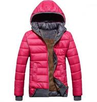 casaco de veludo xl venda por atacado-Atacado-2019 casaco novo esporte modelos femininos além de veludo para baixo quente de inverno jaqueta com capuz wd8162 removível revestimento das mulheres