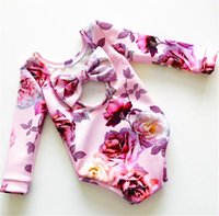 Wholesale zebra print bows - ins spring floral print kids cotton big bow rompers baby rainbow full print jumpsuits romper infant newborn flower full print rompers B11
