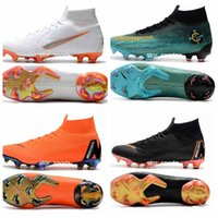 Wholesale mens mercurial superfly online - 2018 Mercurial Superfly VI Elite FG Fly Knit Kids Mens Soccer Cleats Cr7 chaussures Crampons de football botas de fútbol Eur
