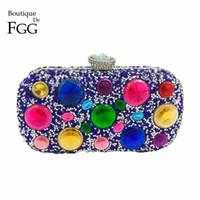 6de440991 Boutique De FGG Multi Color Diamante Mujeres Royal Blue Evening Bags Boda  Bolso de Fiesta Nupcial de Cristal Embrague Minaudiere Monedero