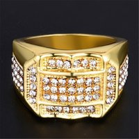 Wholesale Suitable for all Men Cool Rhinestone Insert Male Men Top Metal Plating Technology Ring Business ring A birthday present Gifts