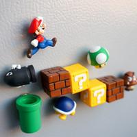 imanes a casa al por mayor-10 unids 3D Super Mario Bros Imanes de Nevera Refrigerador Nota Memo Sticker Funny Girls Boys Niños Niños Estudiantes Juguetes de Regalo de Cumpleaños decoración para el hogar