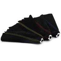 palo de coche negro al por mayor-Universal Negro Car Gear Shift Collares Cubiertas Suede PU cuero Gear Stick Shift Shifter Perilla Cubierta Arrancador