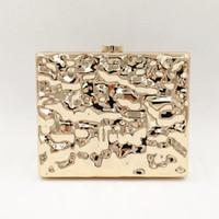 ingrosso borse da promo d'oro-Yens Women Fashion Metal Messenger Bag Elegante oro borsa da sera Dress Prom Party Clutch Box Hard Flap Mini borsa Casual Portafoglio