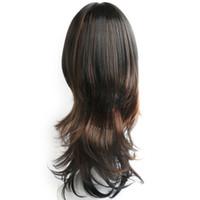 perruques élégantes pour femmes achat en gros de-New élégant mélange couleur noir et brun long ondulés afro-américain perruques pour les femmes synthétiques cheveux 'perruque / perruques pleine perruques avec des franges