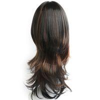 peluca negra ondulada flequillo al por mayor-Nuevo estilo elegante color negro y marrón largo ondulado África American pelucas para mujeres sintético Ladys pelo pelucas / pelucas completo pelucas con flequillo