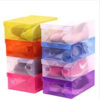 sapatas da caixa de dobramento venda por atacado-Dobrável DIY Shoebox Transparente Sapatos Caixas De Armazenamento De Botas Organizador De Plástico Transparente Dureza Caixa de Sapatos Recipiente Para Casa Organizador