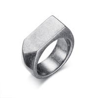 anéis planos venda por atacado-9mm flat-top retro anéis para homens de aço inoxidável do punk de prata do vintage anéis masculinos jóias 4 cores eua tamanho 8 a 12