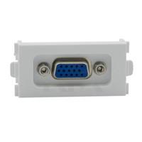 панель vga оптовых-15 Pin Solderless VGA компьютерные розетки VGA настенные плиты 86 панель 3 + 4 Белый VGA модуль