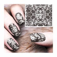 Wholesale tattoos lace designs - FWC Lace Designs 1 Sheet Water Transfer Sticker Nail Art Decals Nails Wraps Temporary Tattoos Watermark Nail Tools 8631